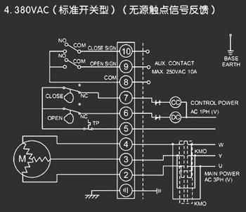 蝶阀在不同电压,所配的电动执行器接线图380v220v24v